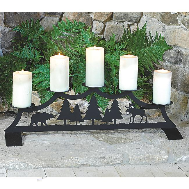 Black Forest Decor Bear and moose fireplace pillar candle...