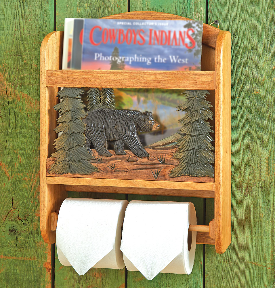 Black Forest Decor Wood bear toilet paper holder and maga...