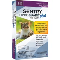 3-PACK SENTRY FiproGuard Plus Flea & Tick Spot-On for Cats (Over 1.5 lbs)