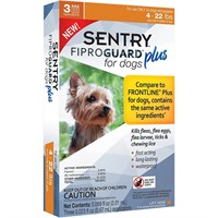 3-PACK SENTRY® FiproGuard® Plus Flea & Tick Spot-On for Dogs (4-22 lbs)