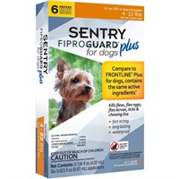 6-PACK SENTRY® FiproGuard® Plus Flea & Tick Spot-On for Dogs (4-22 lbs)