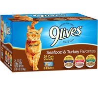 Image of 9 Lives Seafood & Turkey Favorites Variety Pack Canned Cat Food (24x5.5 oz)