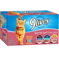 Image of 9 Lives Surf N' Turf Favorites Variety Pack Canned Cat Food (24x5.5 oz)
