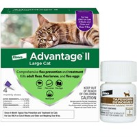 4 MONTH Advantage II Flea Control for Large Cats (over 9 lbs) + Tapeworm Dewormer for Cats (3 Tablets)