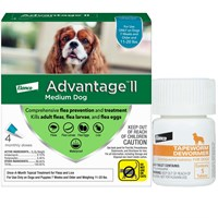4 MONTH Advantage II Flea Control for Medium Dogs (11-20 lbs) + Tapeworm Dewormer for Dogs (5 Tablets)