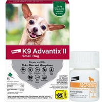 6 MONTH K9 Advantix II GREEN for Small Dogs (upto 10 lbs) + Tapeworm Dewormer for Dogs (5 Tablets)