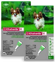 12 MONTH K 9 ADVANTIX Green (for dogs up to 10lbs.) Best Price