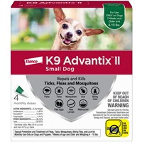 4 MONTH K9 ADVANTIX II GREEN Small Dog (for dogs up to 10 lbs)