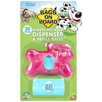 Bags on Board® Waste Pick-Up Dispenser & Refill Bags - Pink Marble Bone (30 bags)