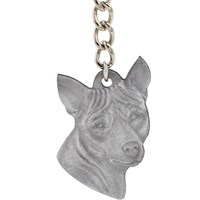 "Dog Breed Keychain USA Pewter - Basenji (2.5"")"