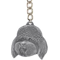 "Dog Breed Keychain USA Pewter - Bichon Frise (2.5"")"