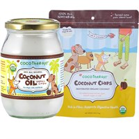 CocoTherapy Coconut Oil (16 oz) + Coconut Chips Bundle
