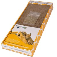 Cosmic Catnip Alpine Climb Cat Scratcher is the first economical scratcher that places the scratching block in an inclined position so the cat can climb and stretch as it scratches. Two large holes are cut into the sides, which allows your cat playful access to the toy that hangs inside. Cardboard has long been recommended as an economical scratcher that trains the cat away from rugs and furniture. The corrugated texture provides the feel of nature for the cat. It has holes to allow the cat to sink his claws into the scratcher (instead of your furniture) to clean his claws. Since most people do not have corrugate lying around the house, it quickly becomes the scratching spot. Catnip treated with Cosmic Catnip for your cat's quick appreciation. Beautiful four color all sides graphic raises this standard to new heights of presentation. The scratcher block is reversible, so when your cat scratches halfway through, just flip it over for a fresh surface.