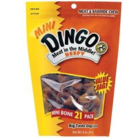 Dingo Meat in the Middle Beefy Rawhide Chew - Mini Bones (21 pack)