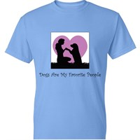 Women's T-Shirt - Dogs Are My Favorite People - Large (Carolina Blue)