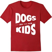 Women's T-Shirt - Dogs Are The New Kids - Medium (Cardinal Red)