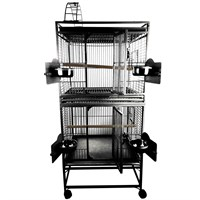 """Image of Double Stack Bird Cage with Play Top - Black (24""""x22""""x64"""")"""