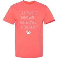 Women's T-Shirt - Drink, Save, and Nap - Large (Coral Silk)