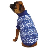 East Side Collection Holiday Snowflake Sweater Blue - MEDIUM