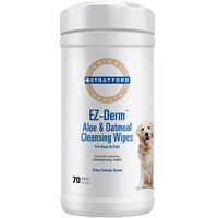 Stratford EZ-Derm Aloe & Oatmeal Cleansing Wipes for Dogs & Cats (70 count)