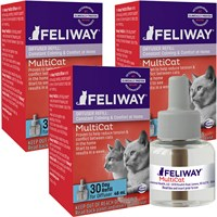 3-PACK Feliway MultiCat 30 Day Diffuser Refill (144 ml)