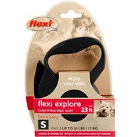 Flexi Explore Cord Retractable Leash - Small 26 lbs. - Black 23 ft.