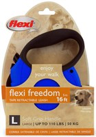 Flexi Freedom Tape Retractable Leash - Large 110 lbs. - Blue/Black 16 ft.