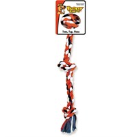 Flossy Chews Cottonblend Color 3-Knot Rope Tug - Small 15""