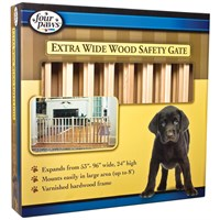 "Four Paws Extra Wide Wood Safety Gate (53-96"" W x 24"" H)"