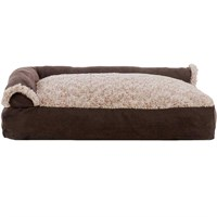 FurHaven Two-Tone Faux Fur & Suede Deluxe