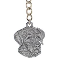 "Dog Breed Keychain USA Pewter - German Wirehaired Pointer (2.5"")"