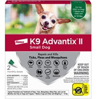 2 MONTH K9 ADVANTIX II GREEN Small Dog (for dogs up to 10 lbs)
