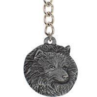 "Dog Breed Keychain USA Pewter - Keeshound (2.5"")"