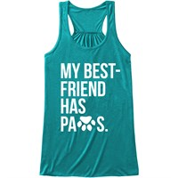 Women's Tank Tops - My Best Friend Has Paws - Medium (Teal)