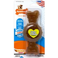Nylabone Puppy Ring Teething Chicken Flavored Bone - Wolf (Medium)
