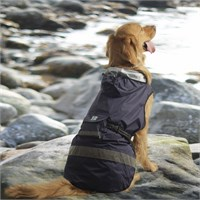 One For Pets Safety Hooded Dog Raincoat - Dark Blue 26""