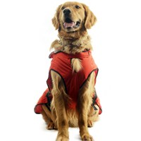 One For Pets Safety Hooded Dog Raincoat - Orange Red 26""