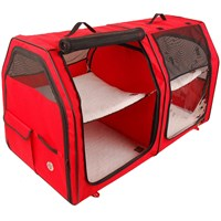 One for Pets Portable Fabric Kennel & Cat Show House - Red (24?x24?x42?)