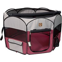 One for Pets Fabric Portable Pet Playpen - Fuchsia/Grey - Small (36?x36?x19.5?)