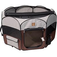 One for Pets Fabric Portable Pet Playpen - Grey/Brown - XLarge (55?x55?x28?)