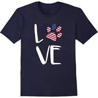 Women's T-Shirt - Patriotic Love - Medium (Navy)