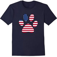 Women's T-Shirt - Patriotic Paw Print - Medium (Navy)