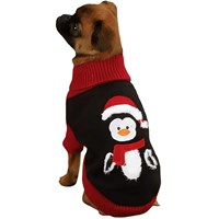 "Zack & Zoey Holiday Penguin Sweaters Black - S (12"")"