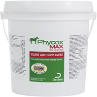 Phycox Max EQ Joint Support Granules for Horses provide the perfect way to keep your horse's joints healthy. This supplement contains a unique combination of ingredients that are proven to provide relief from joint pain and inflammation which include glucosamine, MSM, and phycocyanin. The formula also contains ingredients that promote heart health, urinary tract health, and cognitive function. Phycox Max EQ Joint Support Granules for Horses is clinically proven to improve mobility, alertness, and activity levels in arthritic horses for noticeable results within the first thirty days of use. This container comes with 2700 grams of this supplement in an easy to administer form. Don't let your arthritic horse suffer from the pain and inflammation associated with degenerative joint disorders- order this supplement for your equine today! Key Features: Clinically proven to improve mobility, alertness, and activity level in arthritic horses in only 30 days Promotes healthy heart, weigh