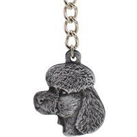 "Dog Breed Keychain USA Pewter - Poodle (2.5"")"