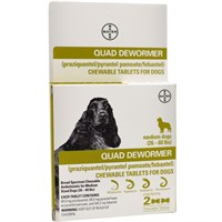 Quad Dewormer for Medium Dogs (26-60 lbs) - 2 Chewable Tablets