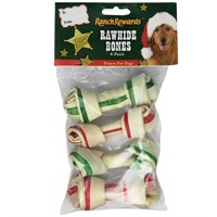 Ranch Rewards® Holiday Rawhide Bones - 4In (4 Pack)
