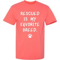 Women's T-Shirt - Rescued Is My Favorite Breed - Medium (Coral Silk)