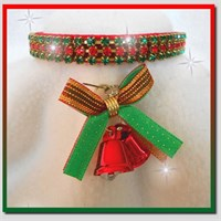 Rhinestone Dog Collars - Christmas Bells & Red Velvet (Medium/Large)