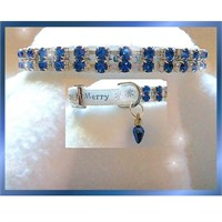 Rhinestone Dog Collars - Merry in Blue (Medium/Large)